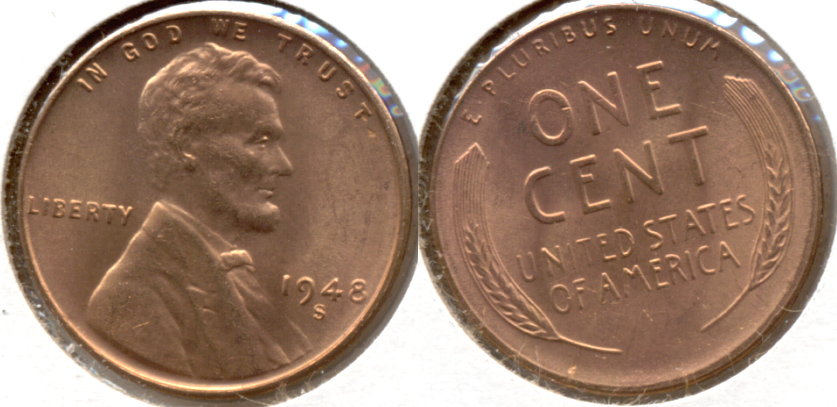 1948-S Lincoln Cent MS-62 Red a