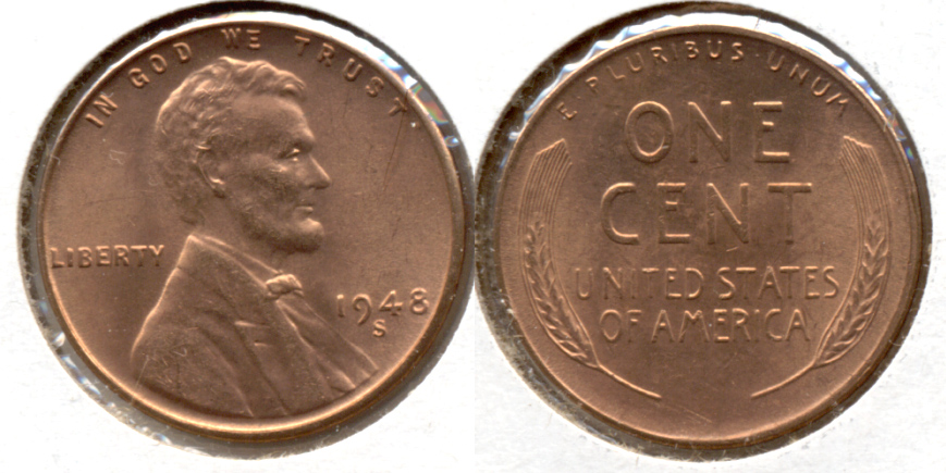 1948-S Lincoln Cent MS-62 Red d