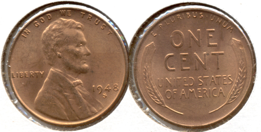 1948-S Lincoln Cent MS-62 Red f