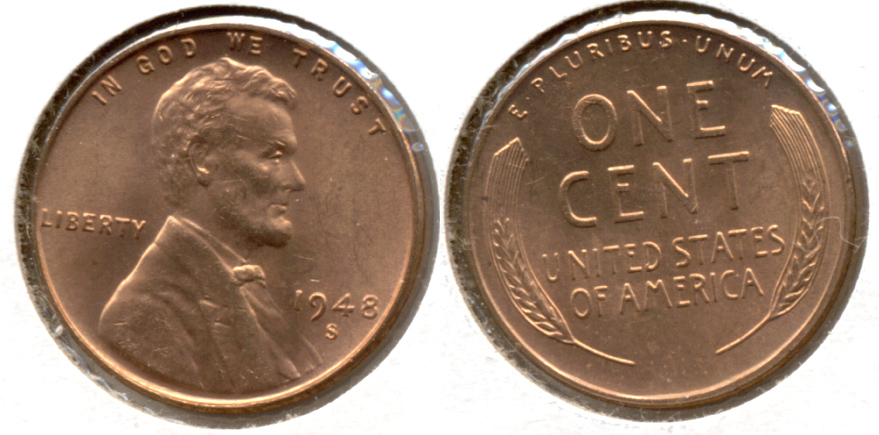 1948-S Lincoln Cent MS-62 Red i