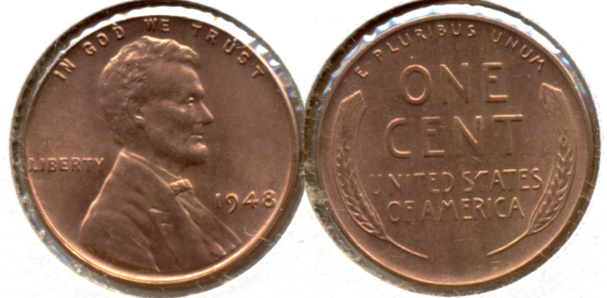 1948 Lincoln Cent MS-62 Red a