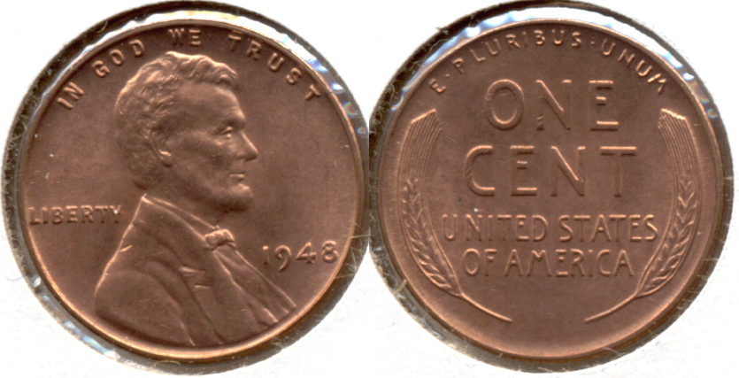 1948 Lincoln Cent MS-62 Red c