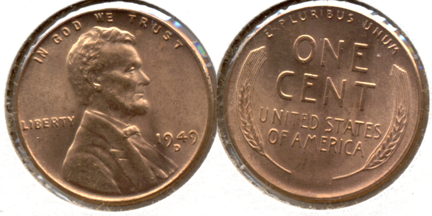1949-D Lincoln Cent MS-62 Red e