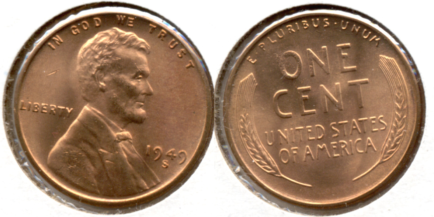 1949-S Lincoln Cent MS-62 Red