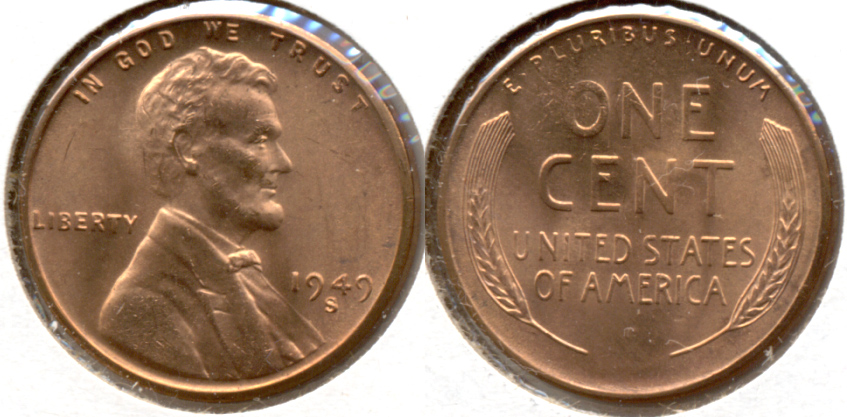 1949-S Lincoln Cent MS-62 Red d