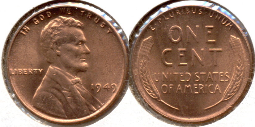 1949 Lincoln Cent MS-62 Red e