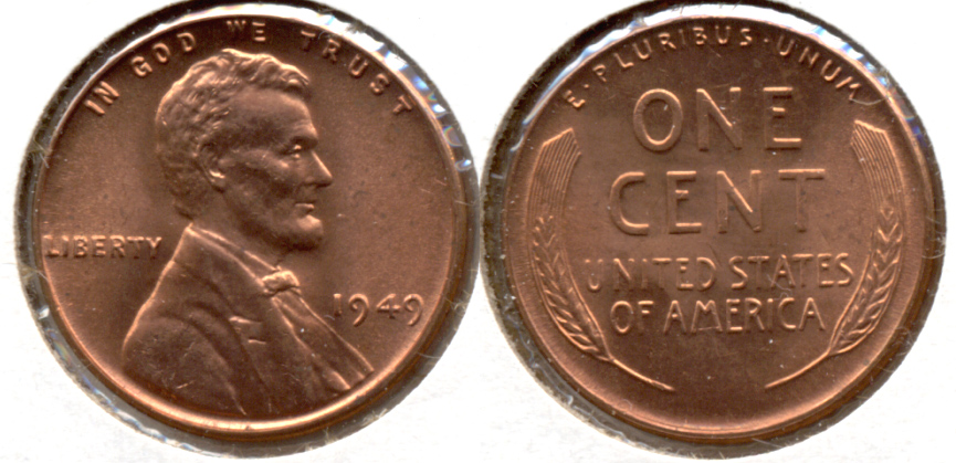 1949 Lincoln Cent MS-62 Red g