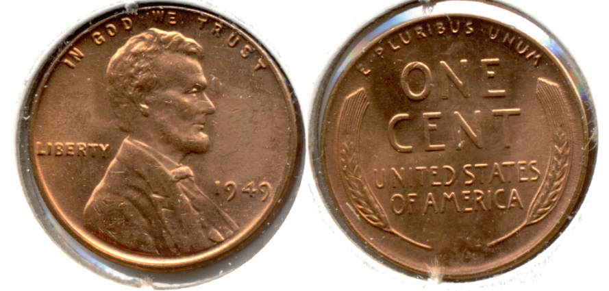 1949 Lincoln Cent MS-62 Red l