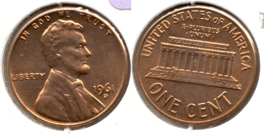 1961-D Lincoln Memorial Cent Mint State