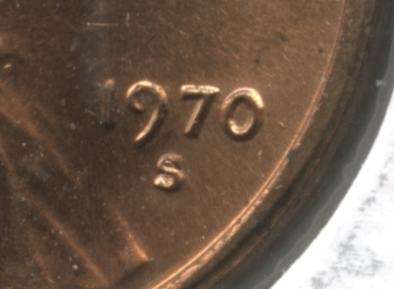 1970-S Small Date Lincoln Memorial Cent Mint State close up