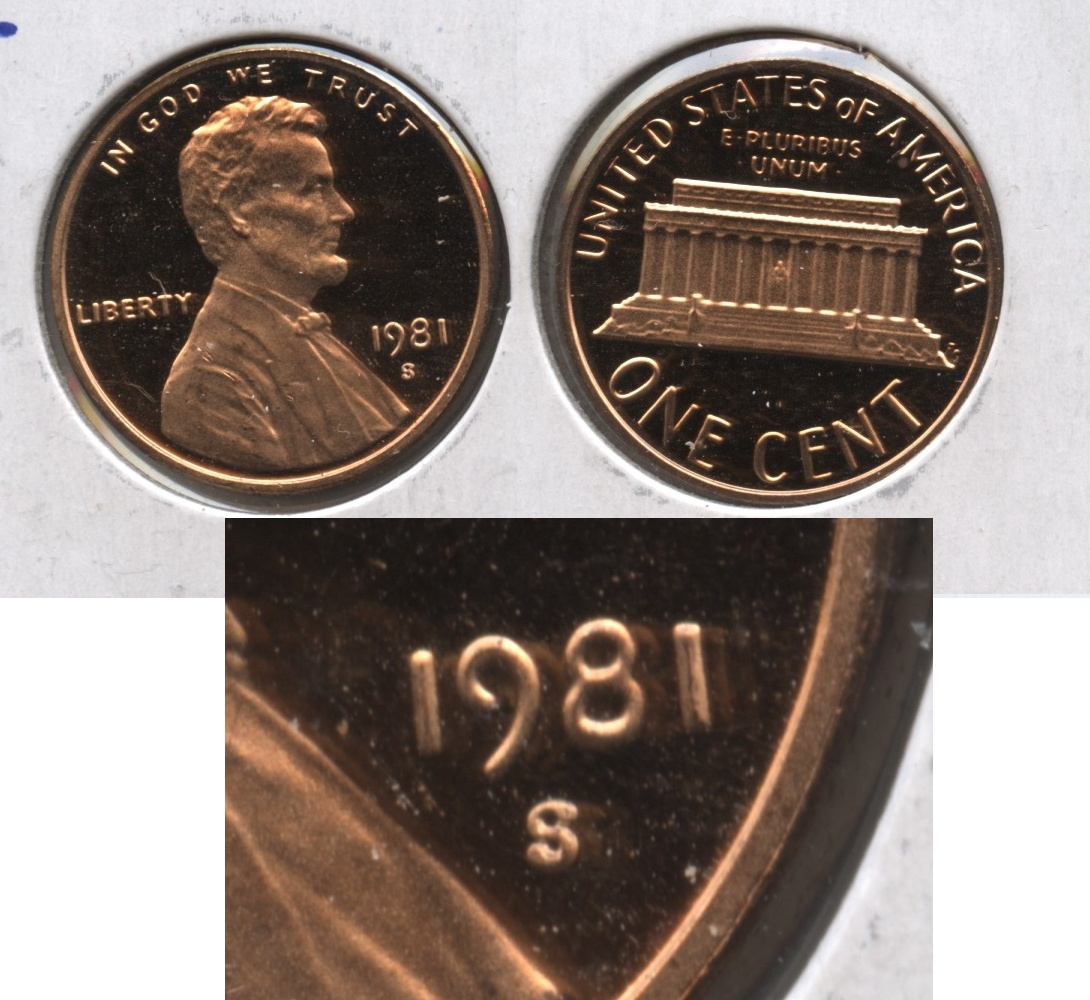 1981-S Lincoln Memorial Cent Proof Type 2