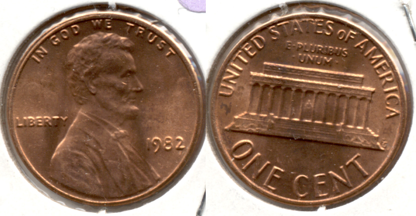 1982 Large Date Copper Lincoln Memorial Cent Mint State