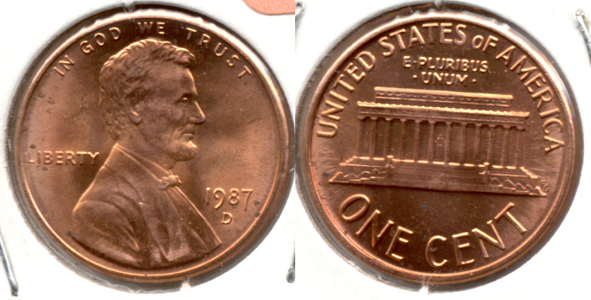 1987-D Lincoln Memorial Cent Mint State