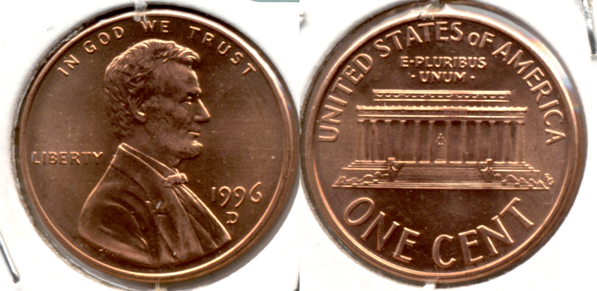 1996-D Lincoln Memorial Cent Mint State