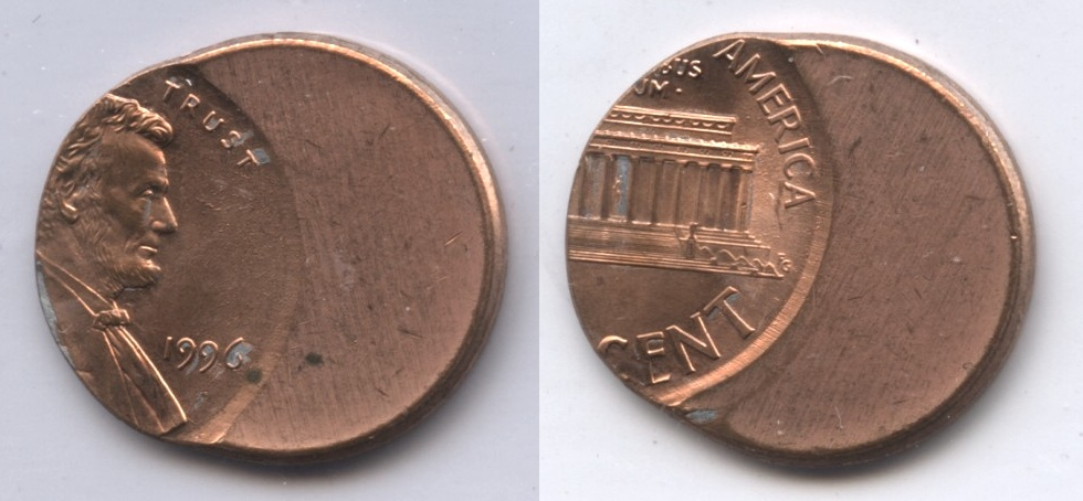1996 Lincoln Memorial Cent Off Center Error #c