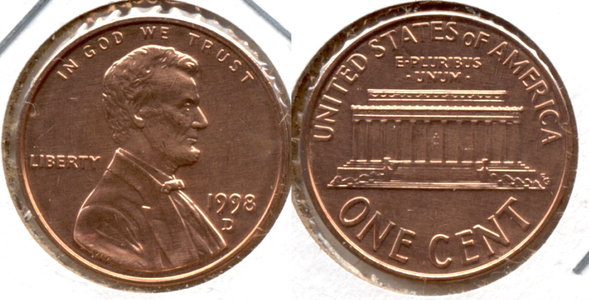 1998-D Lincoln Memorial Cent Mint State