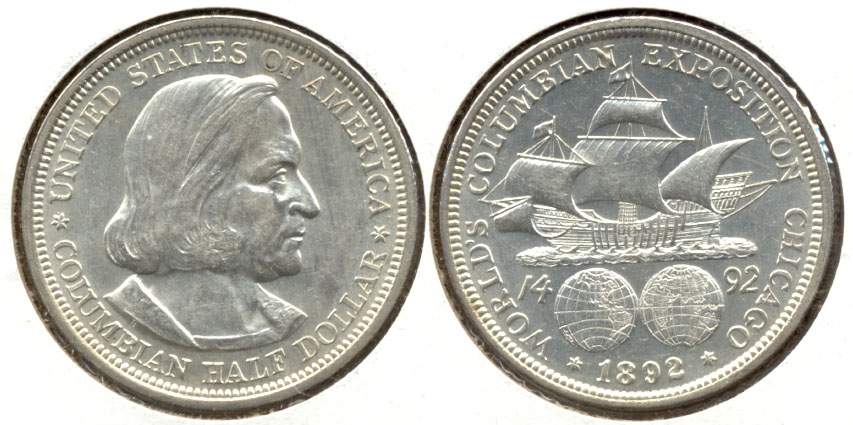 1892 Columbian Exposition Commemorative Half Dollar AU-55