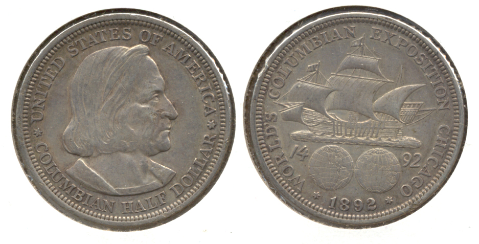1892 Columbian Exposition Commemorative Half Dollar EF-40 c