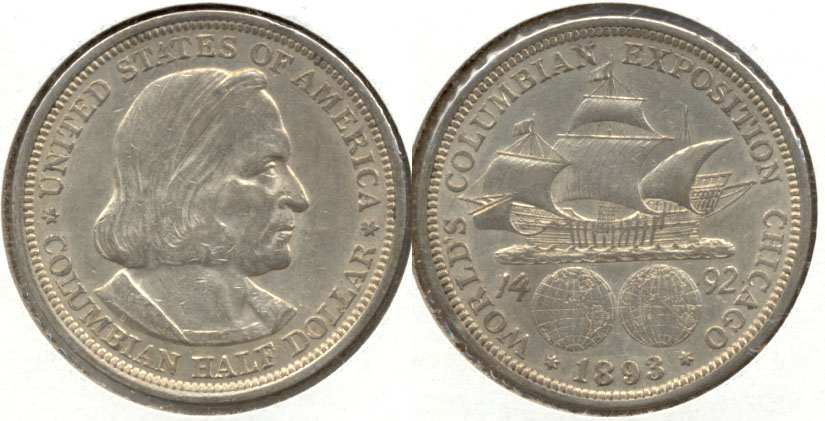 1893 Columbian Exposition Commemorative Half Dollar AU-50 e