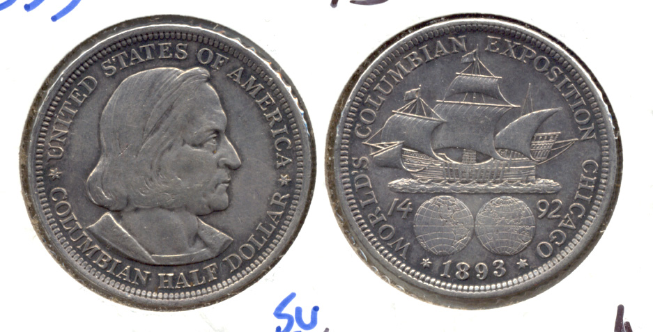 1893 Columbian Exposition Commemorative Half Dollar AU-50 l