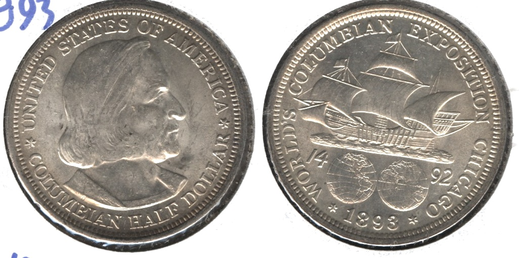 1893 Columbian Exposition Commemorative Half Dollar AU-55