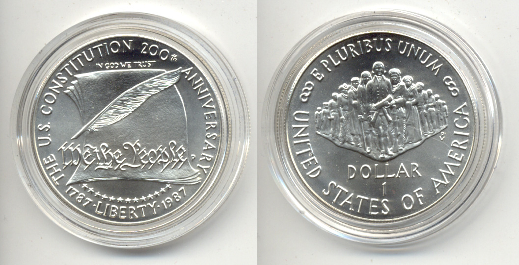 1987-P Constitution Commemorative Dollar Mint State in Capsule