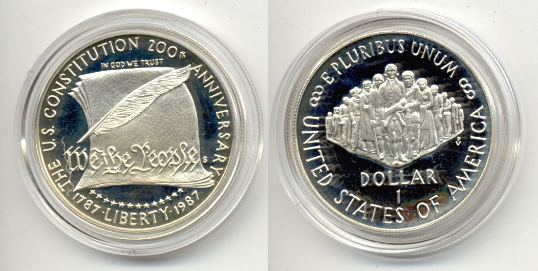 1987-S Constitution Commemorative Dollar Proof in Capsule