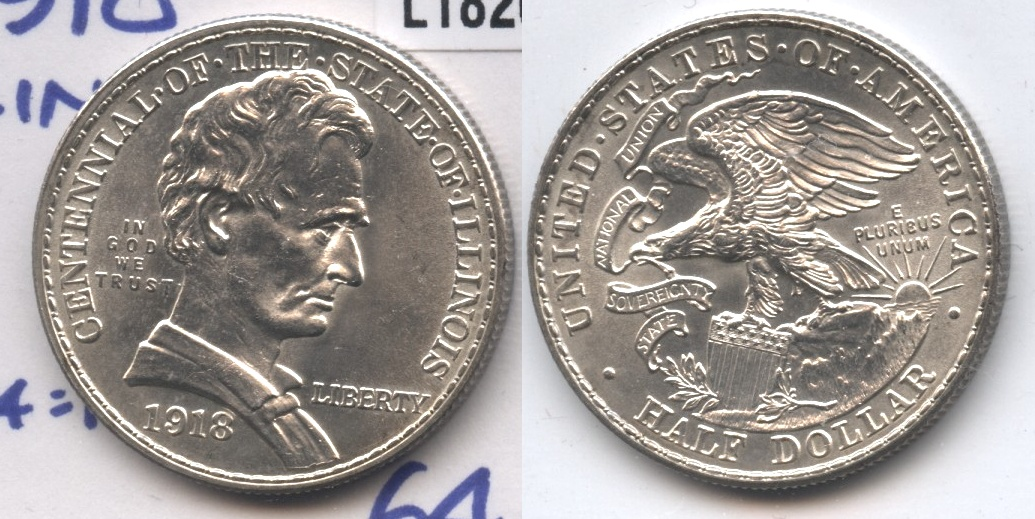 1918 Lincoln Illinois Centennial Commemorative Half Dollar MS-64