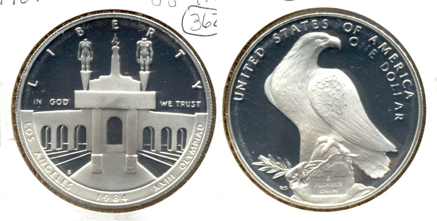 1984-S Olympic Commemorative Silver Dollar Proof in 2x2