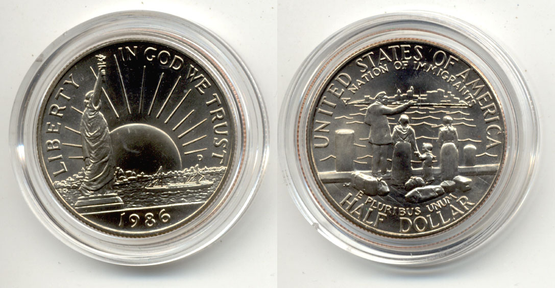 1986-D Statue of Liberty Commemorative Half Dollar Mint State in Capsule