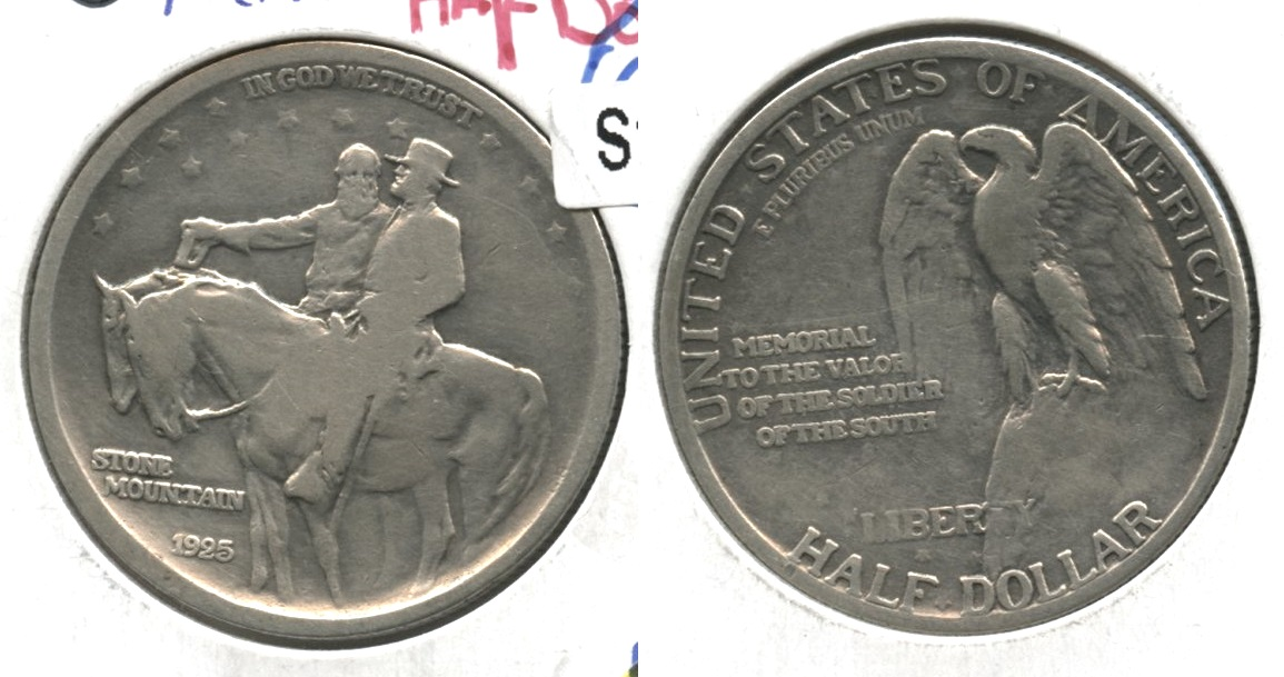 1925 Stone Mountain Commemorative Half Dollar Fine-12 #b Cleaned