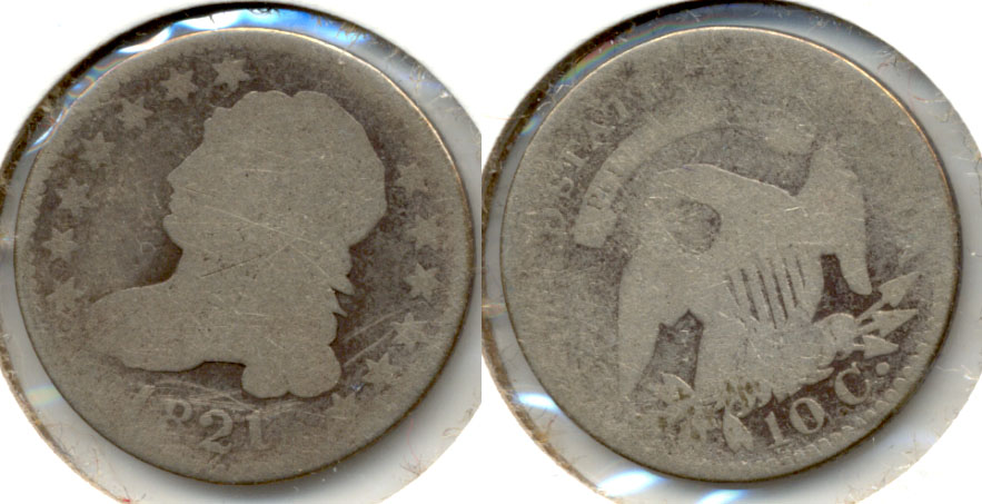 1821 Capped Bust Dime AG-3