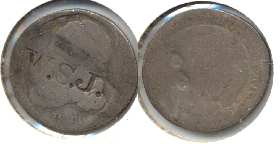 1833 Capped Bust Dime AG-3 a WSJ Counterstamp