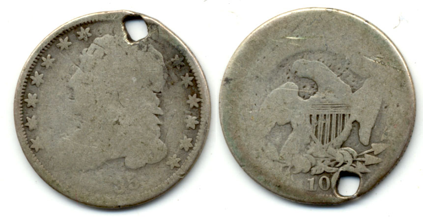 1835 Capped Bust Dime Fair-2 Holed