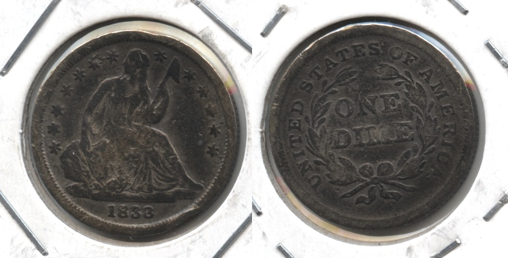 1838 Seated Liberty Dime Good-4 #a Damaged