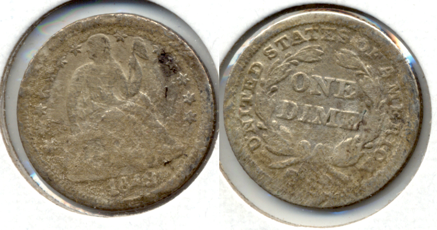 1849 Seated Liberty Dime Good-4 a Rough