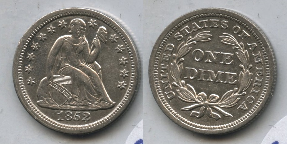 1852 Seated Liberty Dime AU-50 Obverse Marks