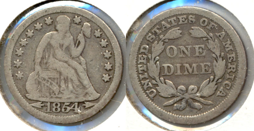 1854 Seated Liberty Dime VG-10