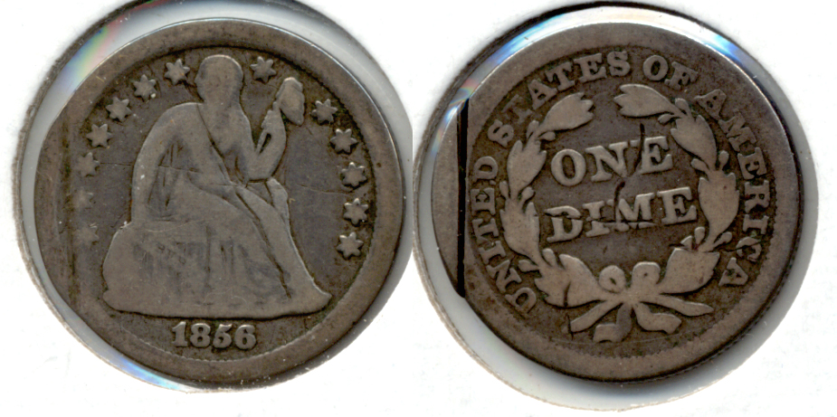 1856 Seated Liberty Dime Good-4 a Damage
