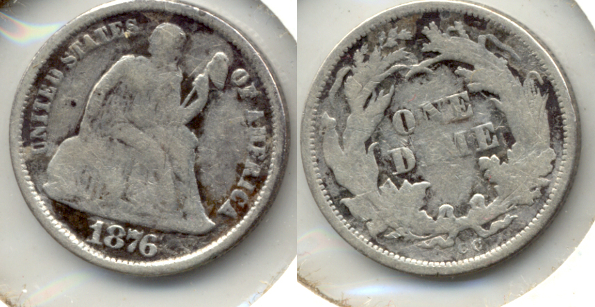 1876-CC Seated Liberty Dime VG-8 b Cleaned