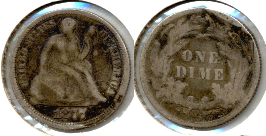 1877 Seated Liberty Dime VG-8 Damage