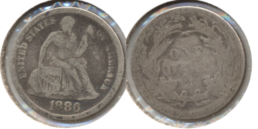 1886 Seated Liberty Dime VG-8 a