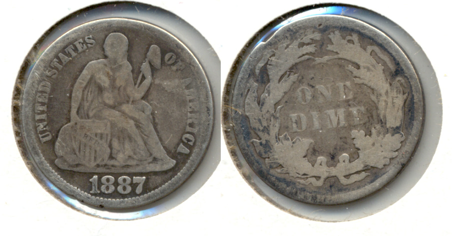 1887 Seated Liberty Dime Good-4