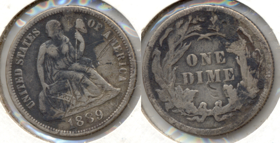 1889 Seated Liberty Dime Fine-12 c Scratch