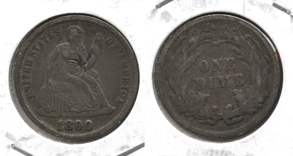 1890 Seated Liberty Dime EF-40 #a Obverse Damage
