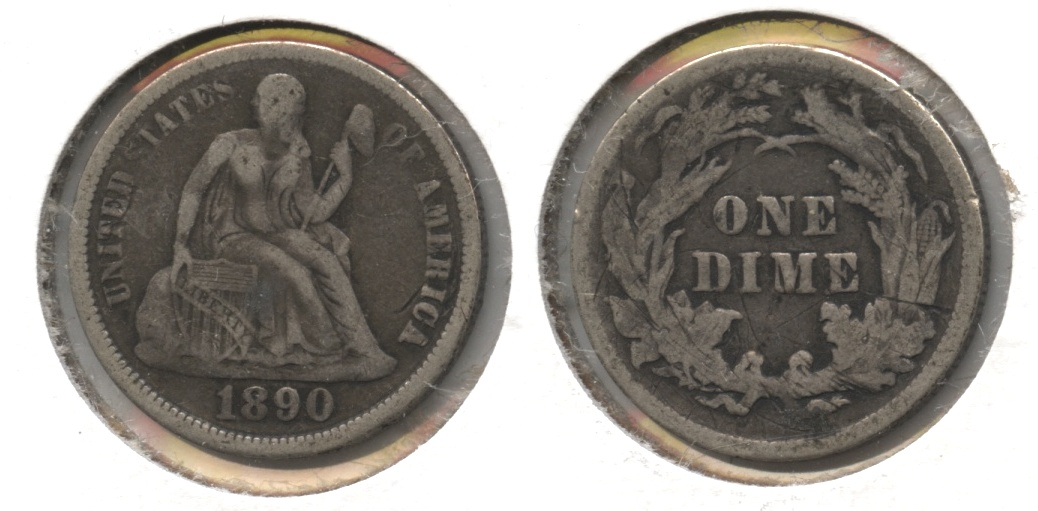 1890 Seated Liberty Dime Fine-12 #d