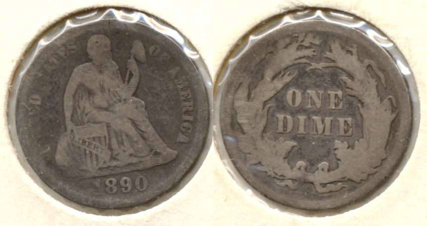 1890 Seated Liberty Dime VG-8 a