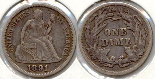 1891 Seated Liberty Dime EF-40