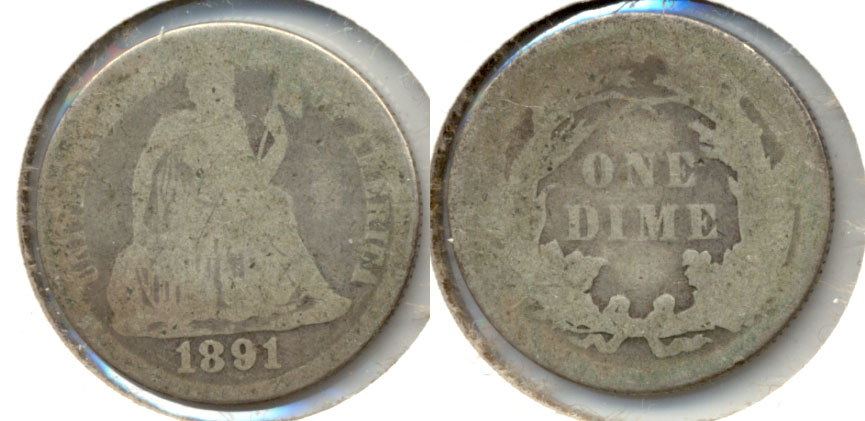 1891 Seated Liberty Dime Fair-2 c