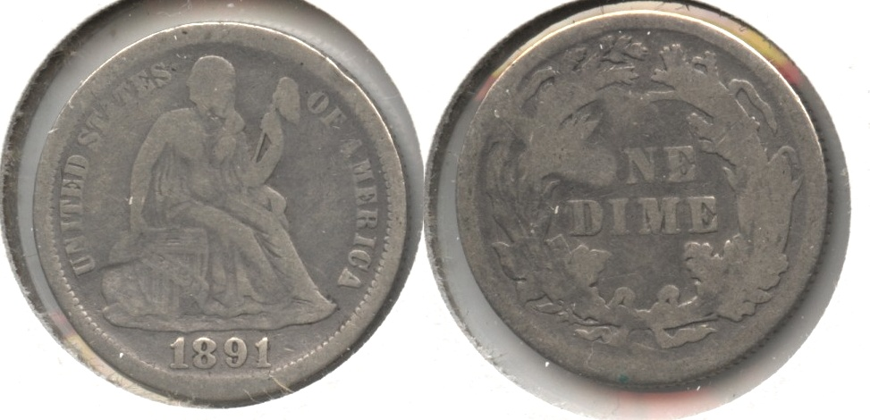1891 Seated Liberty Dime VG-8 #h Dent